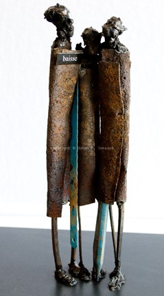 Mixed media metal sculptures | Modern junk art sculpture by Johan Jonsson
